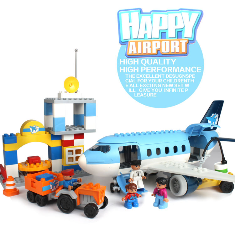 AIBOULLY Large Size Happy Airport Building Blocks Compatible with dupleo 69pcs Classic Toys Educational Baby Toy Gifts 2016 extra large 3d printer with 400x400x470mm building envelope