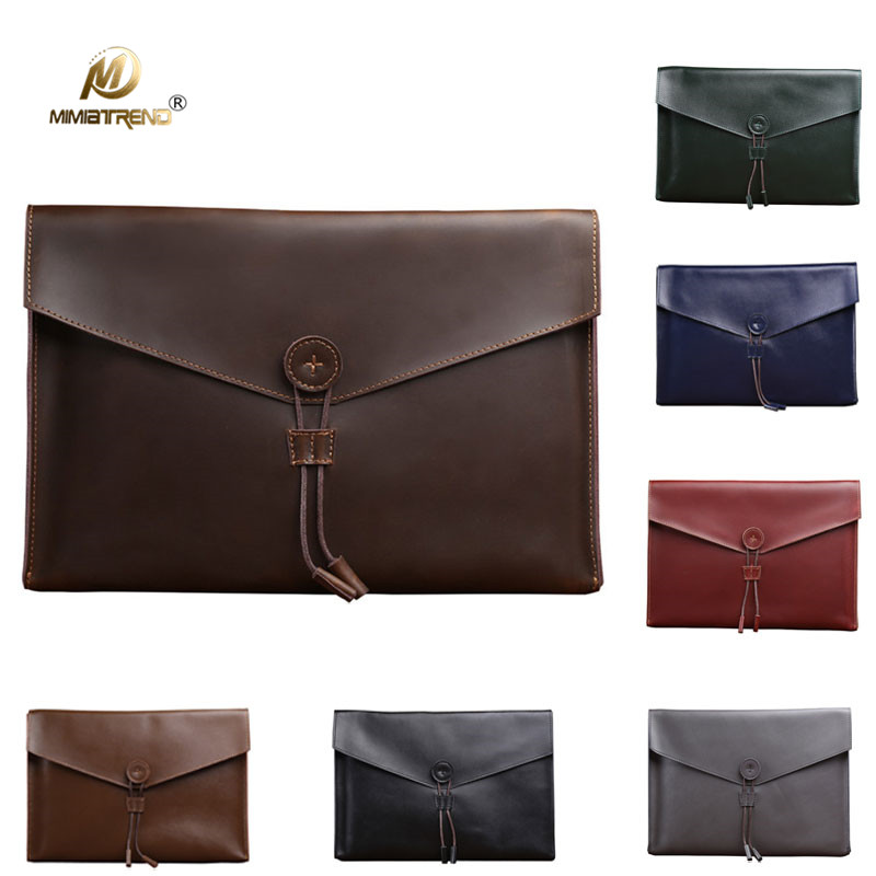 Mimiatrend Vintage Genuine Leather Bag A4 for iPad Pro 10.5 Air Air2 Mini 1 2 3 4 Tablet Bag 11 12 Inch laptop Sleeve Pouch 8 inch 10 1 inch universal tablet sleeve bag for ipad 9 7 2017 2018 air pro case mini 1 2 3 4 5 for huawei samsung pouch cover