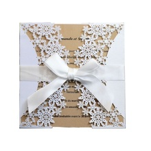 50pcs  Laser Cut Engagement Wedding Invitations Cards Hollow Snowflake Invites Business Birthday Christmas Greeting