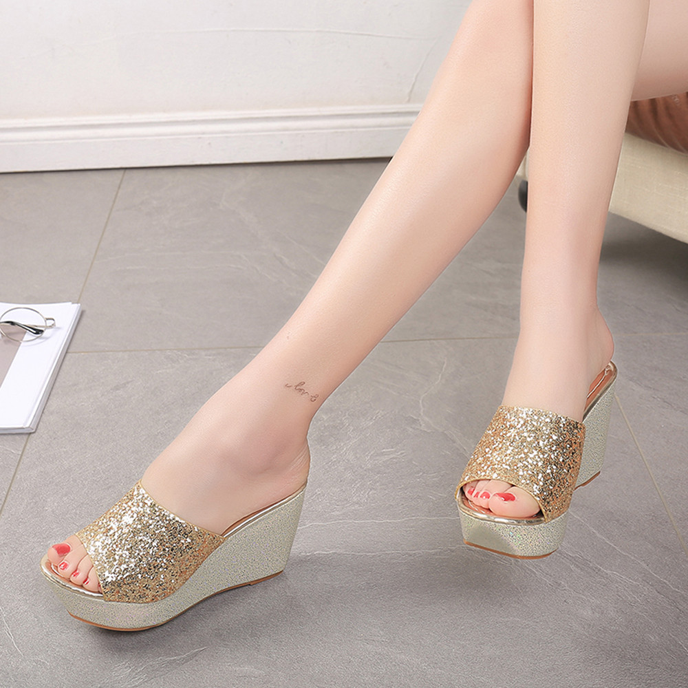408ab0289b1cc2 Outdoor Women Slippers Sexy Open Toe Shoes Wedge Slip High Heel Slippers  Artificial leather Flip Flops