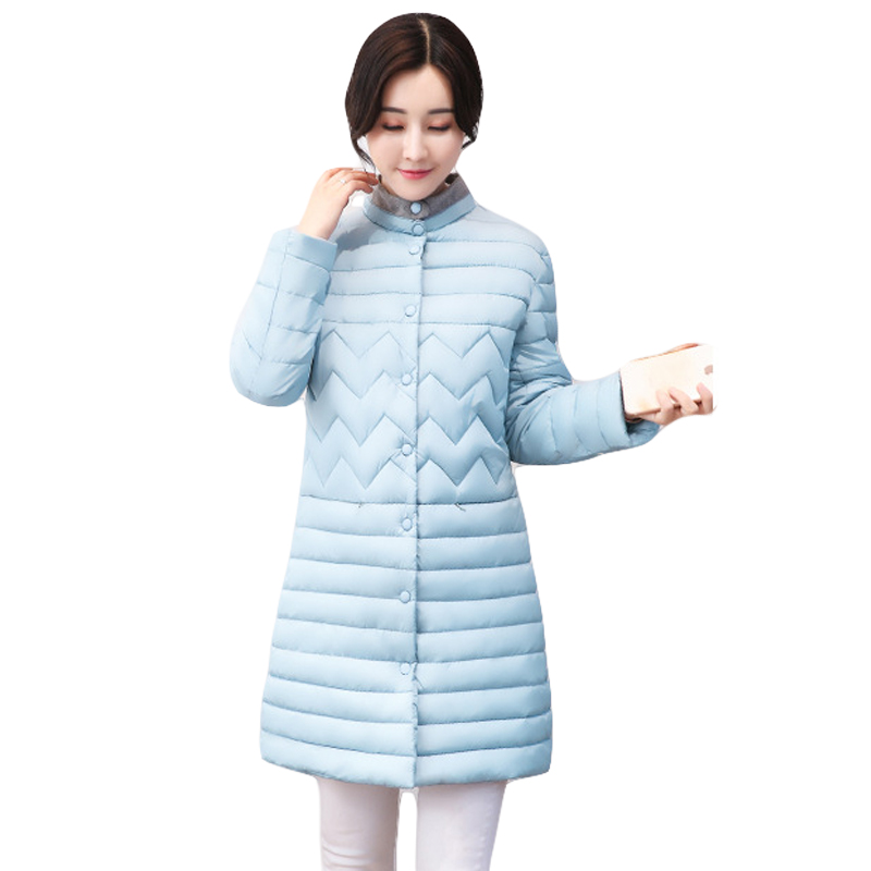 Wadded Jacket Thin Medium-long Fashion Winter Coat Women Stand Collar Down Cotton-padded Parka Girls Outwear Clothing CM1382