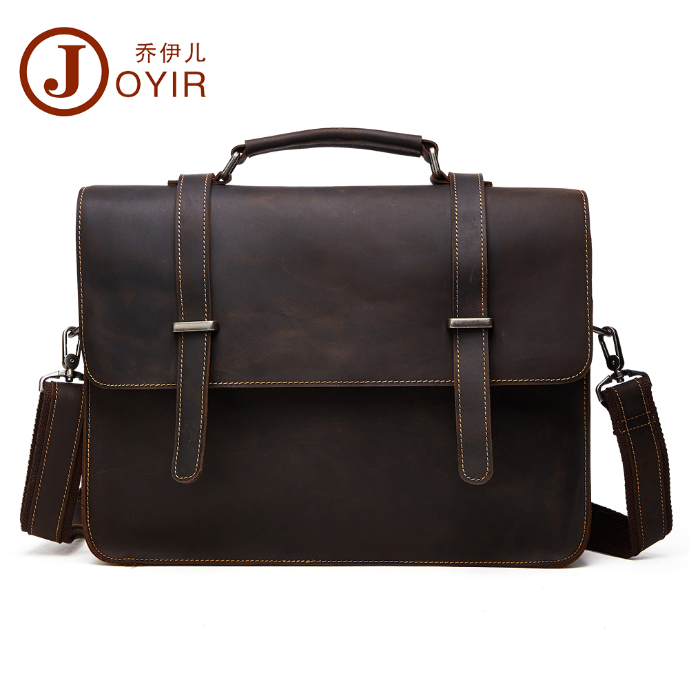 JOYIR men's briefcase crazy horse genuine leather men's business bag vintage messenger shoulder bag for male men handbag 6148 joyir men briefcase real leather handbag crazy horse genuine leather male business retro messenger shoulder bag for men mandbag