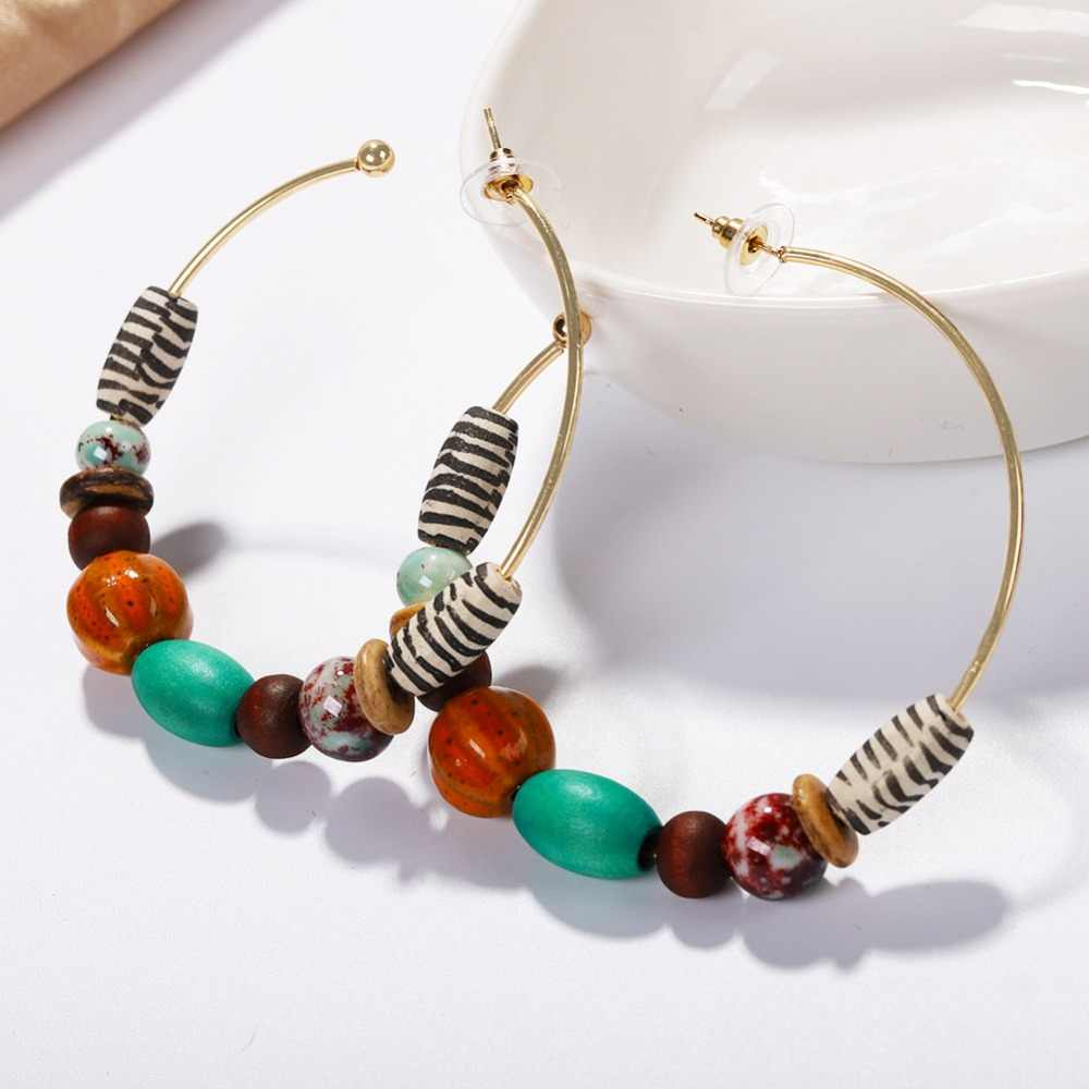 Best lady Bohemian Handmade Beaded Hoop Earrings for Women Spring Color Wedding Party Statement Earrings Gift Jewelry Wholesale