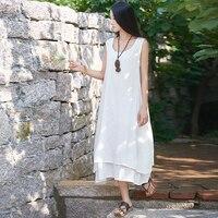 Tela de lino de una sola pieza femenina dress casual summer sin mangas ankel-longitud de boho dress dress vestido largo de buena calidad