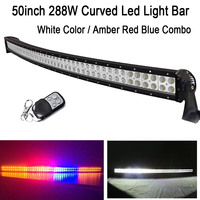 50 288W White/ Amber Red Blue Amber StrobeFlash Led Curved Work Light Bar Signal For OffRoad Driving ATV SUV Truck Jeep 4x4 4WD