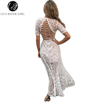 Lily Rosie Girl Sexy Lace Hollow Out Women Dresses Short Sleeve Maxi Deress Empire V Neck