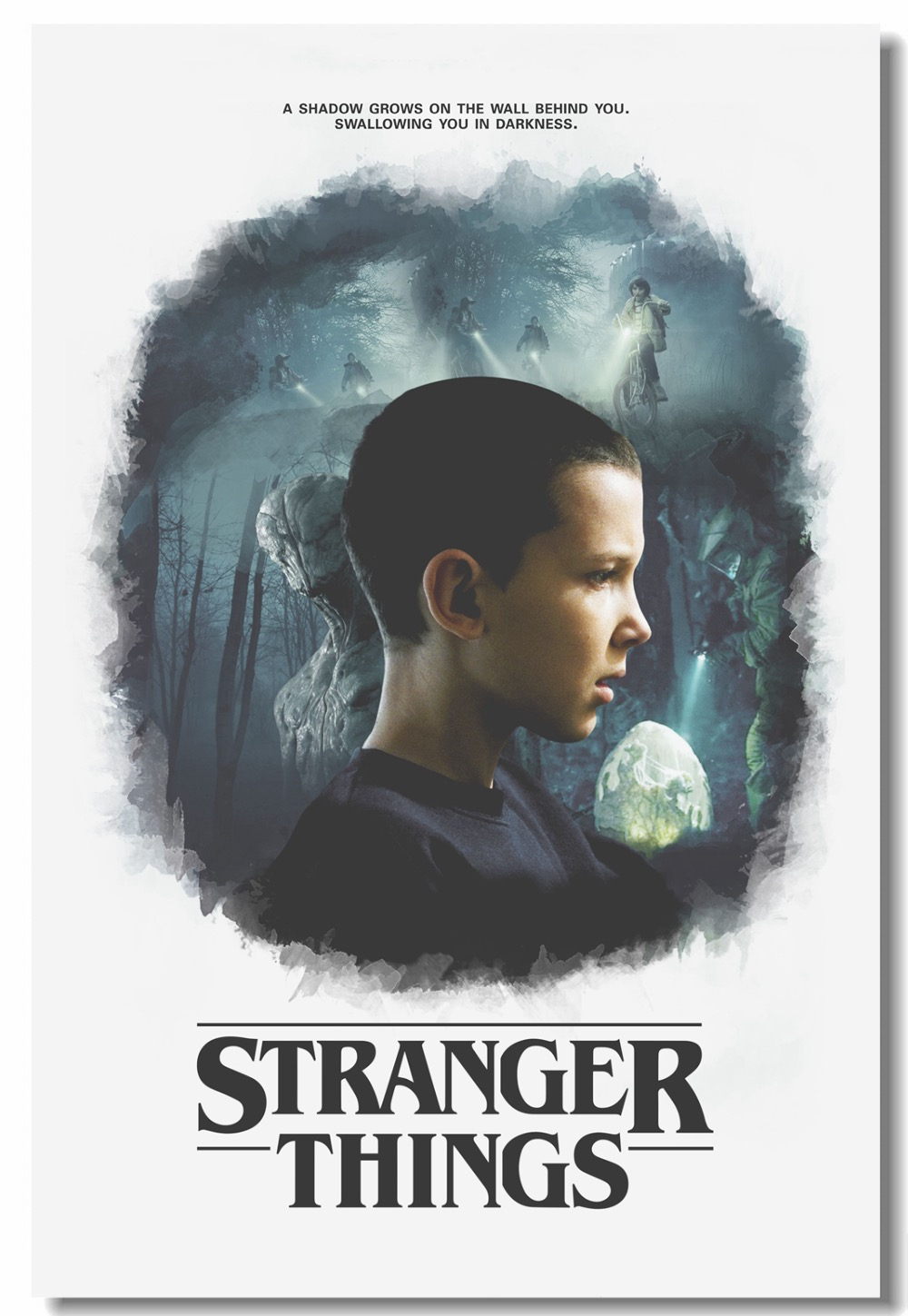 Us 559 30 Offcustom Canvas Wall Painting Stranger Things Poster Stranger Things Tv Wall Stickers Eleven Millie Mural Bedroom Wallpaper 0237 In
