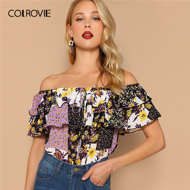 COLROVIE Off The Shoulder Layered Foldover Colorblock Floral Print Boho Blouse Women Summer Short Sleeve Drawstring Beach Tops