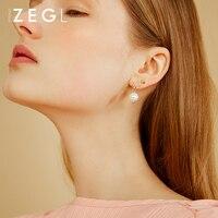 ZEGL web celebrity 925 sterling silver ear stud female freshwater pearl earring earring pendant silver ornaments