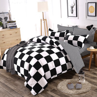 FUNBAKY 3/4pcs/Set Geometric Pattern Comforter Bedding Sets Black And White Pillowcase/Bed Sets Home Textile