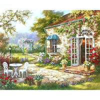 1Set Beautiful Garden House DIY Painting By Numbers Abstract Rural Oil Painting Home Wall Art Decor