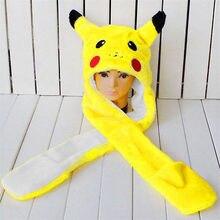 Anime Cartoon  Pokemon Go Winter Hat Trainer Pokemon Cute Pikachu Plush Hat Cap Beanies with Gloves Cosplay NEW