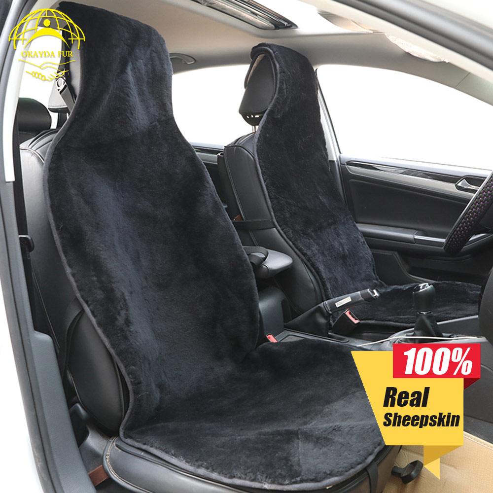 OKAYDA housse siège voiture fourrure plein avant siège en peau de mouton nouveauté taille universelle livraison gratuite accessoires de haute qualité
