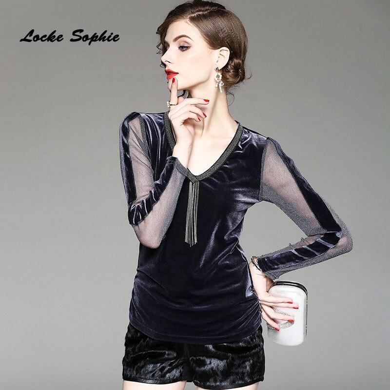 1 pièces dames chemisiers grande taille hauts 2019 été velours côtelé maille mosaïque creux apprêt chemise femmes Skinny rétro Sexy chemises filles