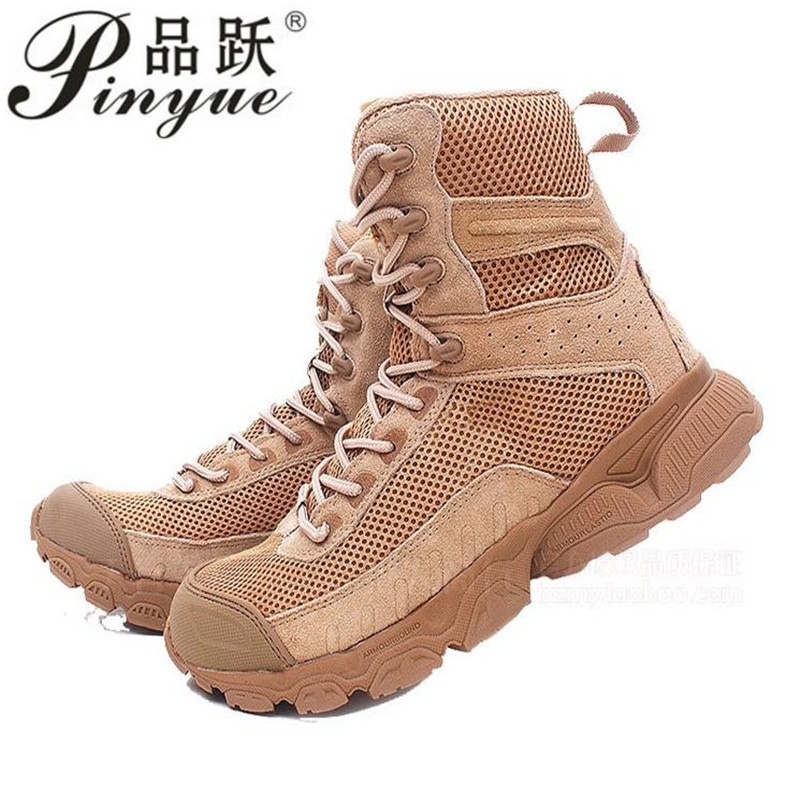 High-quality Sports Breathable Mesh Hiking Shoes Men Military Tactical Combat Boots Army Desert Training Hunting Climbing Shoes outdoor tactical boots army combat military boots snow training boots men s hunting sports hiking boots desert camouflage shoes