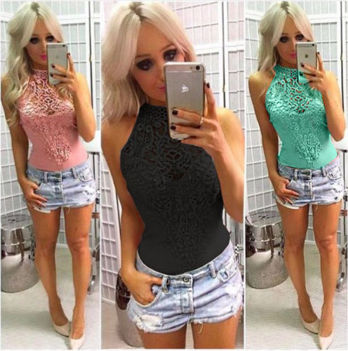 Summer Women Sleeveless Jumpsuit Romper Lace Backless Bodysuit Stretch Ladies Leotard Bodycon Halter Playsuit New Fashion