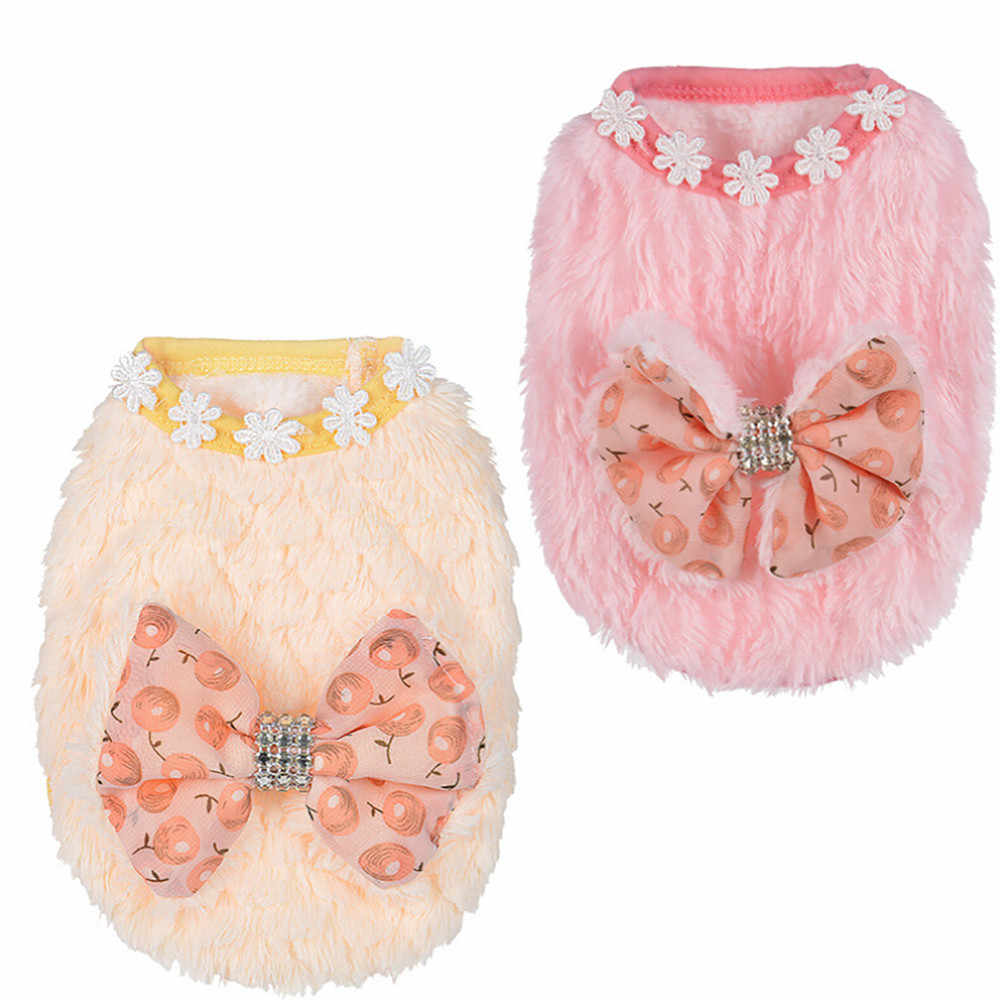 Cherry Bow Dog Coats Polyester Autumn and Winter Pet Puppy Small Dog Mini Dog Clothes Coat Dog Supplies XXXS-S