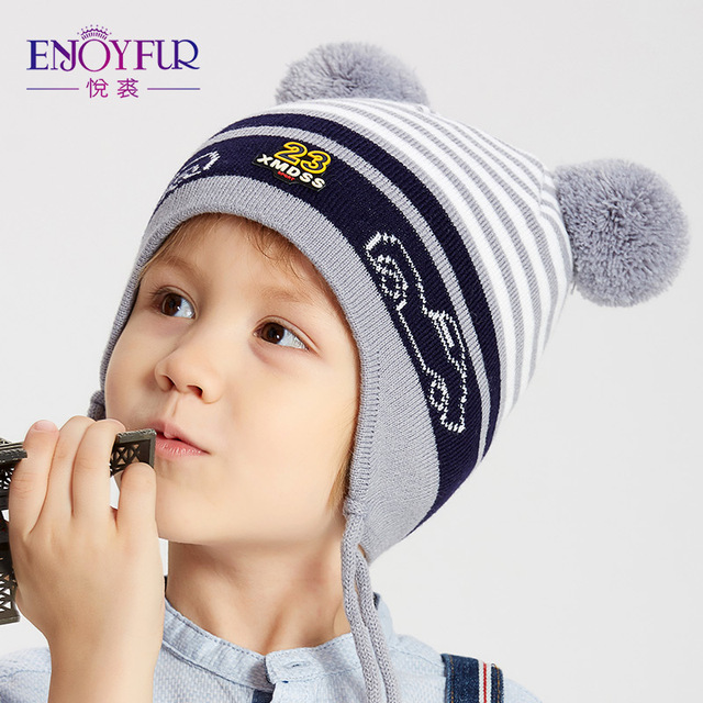 ENJOYFUR Winter Kids Hat With Double Fox Fur Pompom Boys Striped Knitted  Ears Cap Thick Warm Cotton Children Beanies For Autumn 8fa35f8c84f7