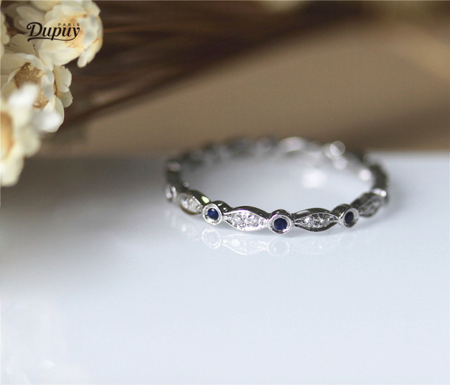 Dupuy Stackable Wedding Ring Full Eternity Diamond Blue Sapphire