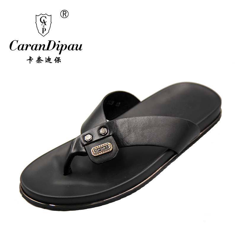 Flip Flops Men Real Leather Summer Sandals For School Street Casual Walking  Seaside Beach Soft Non Slip Bottom Stylish Flats