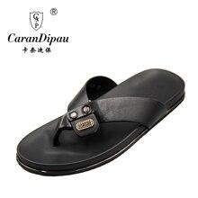 Flip Flops Men Real Leather Summer Sandals For School Street Casual Walking Seaside Beach Soft Non-slip Bottom Stylish Flats