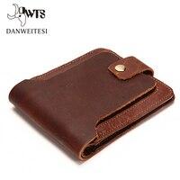 DWTS Purse Men Wallets Genuine Crazy Horse Cowhide Leather Men Wallet Short Coin Purse Small