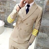 Air Force Men Suit Gold Black Suit Latest Coat Pant Designs Vestito Uomo Smoking Slim Fit Kroean Fashion Suit Male