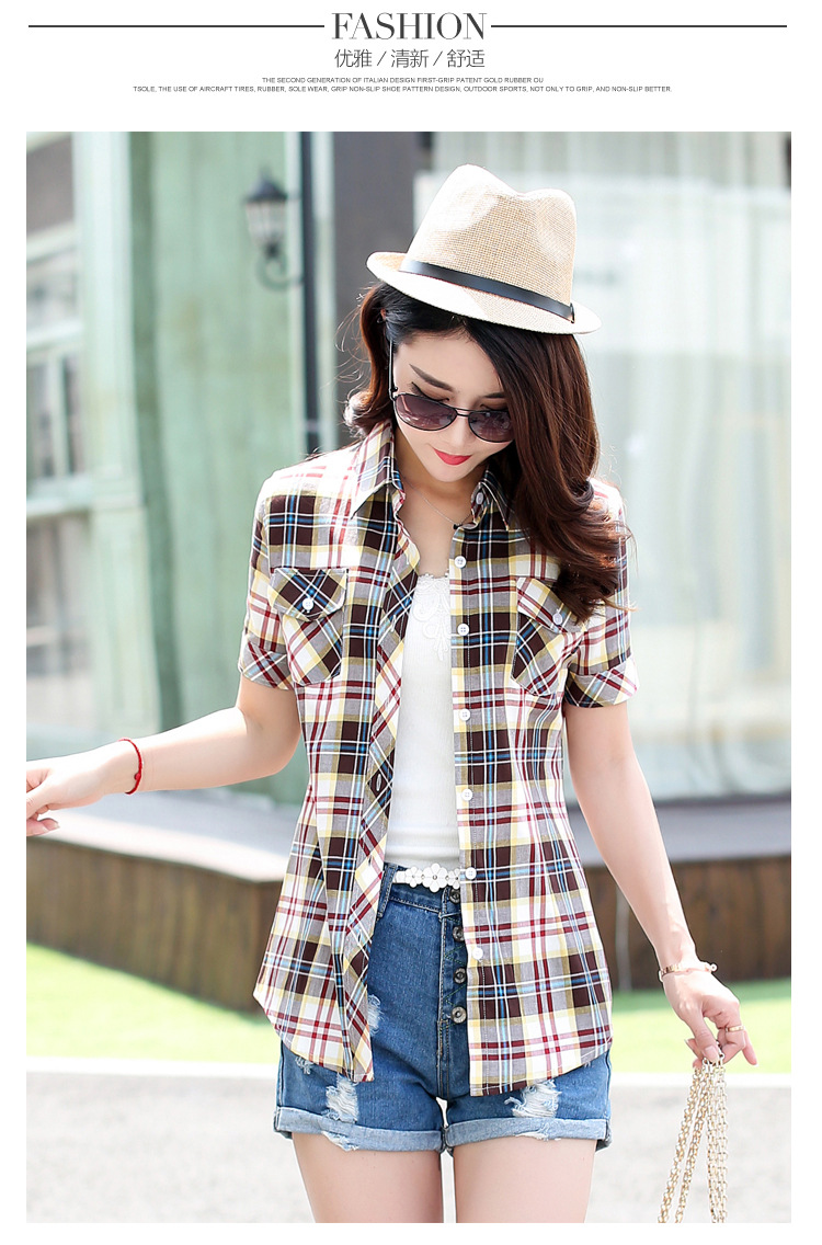 HTB1S4 RHFXXXXaxXXXXq6xXFXXXZ - New 2017 Summer Style Plaid Print Short Sleeve Shirts Women