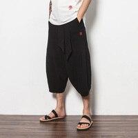Men Cotton Linen Harem Pants China Style Wide Leg Casual Pants Male Fashion Loose Short Trousers Beach Pants