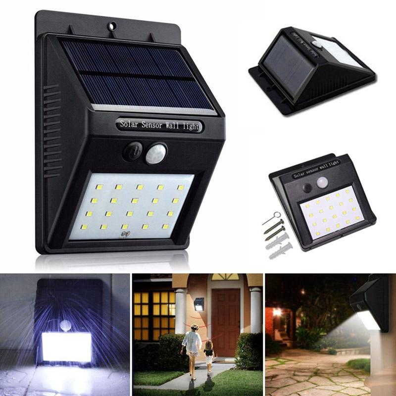 1x 20led Solar Power Pir Motion Sensor Wall Light Outdoor