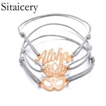 Sitaicery 3pcs/1set ALOHA Letter Double Love Lotus Adjustable Bohemian Bracelet Set Women Fashion Party Woven Bracelets Jewelry