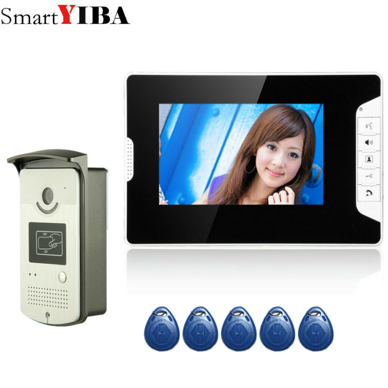 SmartYIBA 7 Wired Video Intercom Video Doorbell With RIFD Outdoor Camera 1000TVL Visual Intercom Remote Unlock Video Door Phone