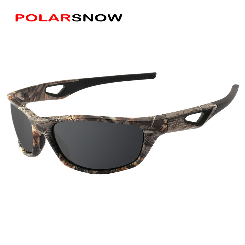 POLARSNOW Polarized Sunglasses Men TR90+Rubber Camo Frame Fishing Driving Sun Glasses Male Goggles UV400 Shade P8764