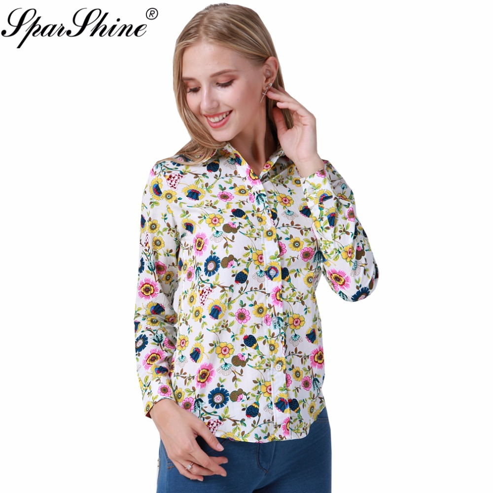Sparshine 2017 White Floral Women Blouses Summer Long Sleeve Cotton