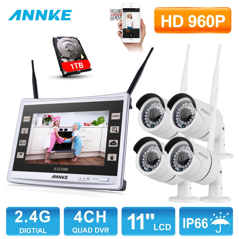 ANNKE 4CH 960 P Sans Fil 11 moniteur NVR Extérieure IR Vision Nocturne de Surveillance Vidéo de Sécurité 4 pcs WIFI IP Caméra CCTV Système