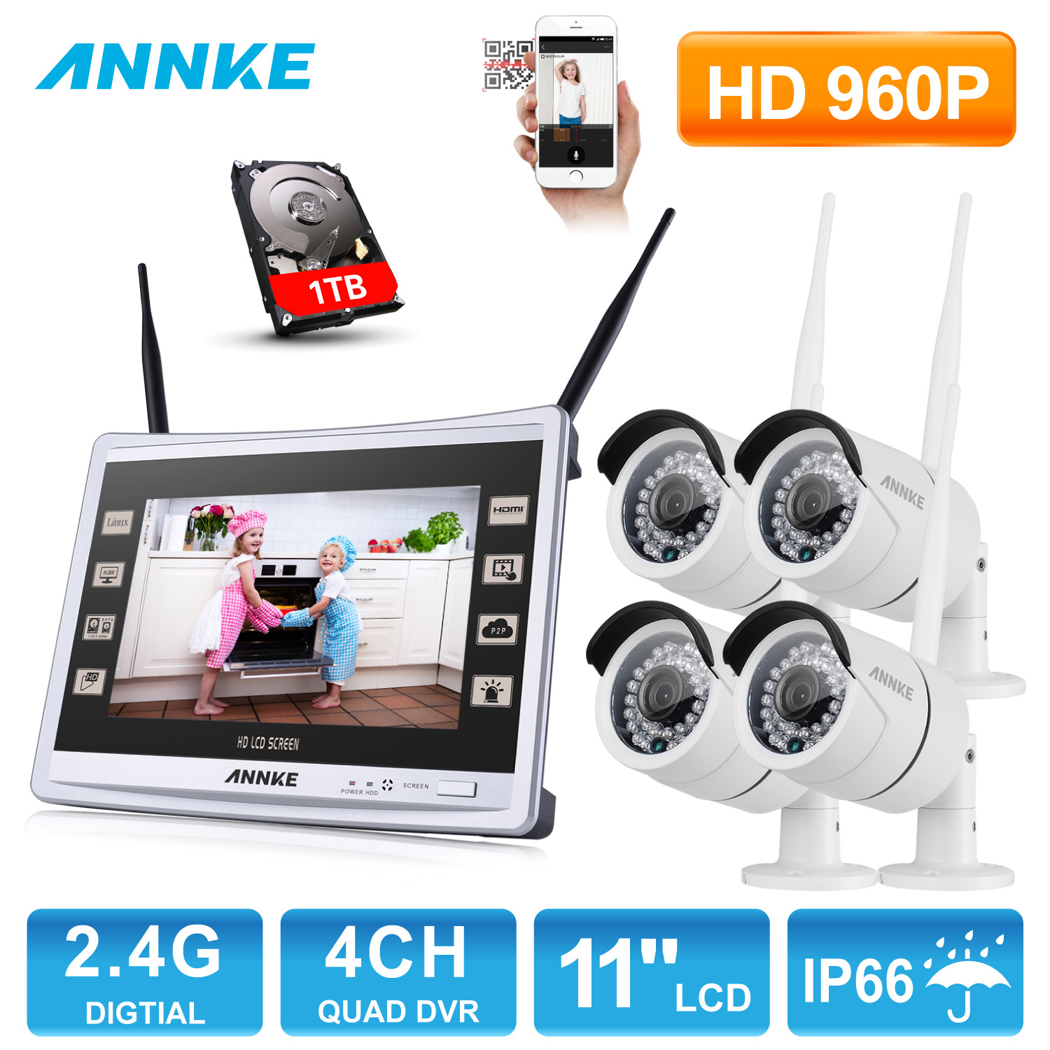 ANNKE 4CH 960P Wireless 11 Monitor NVR Outdoor IR Night Vision Video Surveillance Security 4pcs WIFI IP Camera CCTV System annke 4ch 960p hd outdoor ir night vision video surveillance security 4pcs ip camera wifi cctv system wireless nvr kit 1tb hdd