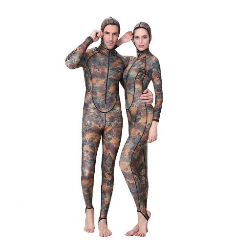 UPF50+ 0.5MM Camouflage Muslim Snorkeling Dive Skin Rash Guards One-piece With Hood Jump Stinger Suit Men Women