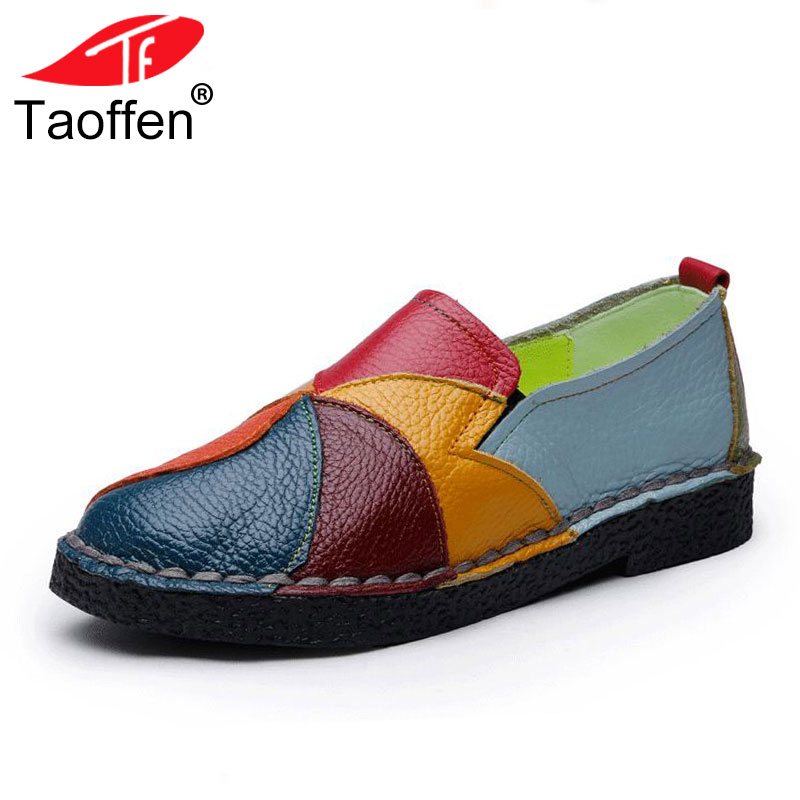 TAOFFEN Women Soft Flats Shoes Natural Leather Shoes Casual Female Flower Round Toe Shoes Brief Lady Footwear Size 35-42 taoffen ladies leisure casual flats shoes low heels lady loafers sexy spring women brand footwear shoes size 34 42 p16166