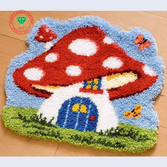 Handmade Carpet Needlework Latch Hook Rug Kits Diy Crocheting Yarn Mat Kit Sch
