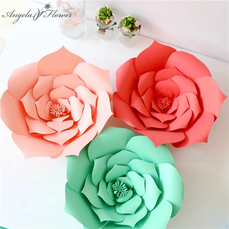 DIY Craft 20cm Paper Roses Birthday Party Wedding Flower Wall Window Decoration Event Supplies Stage
