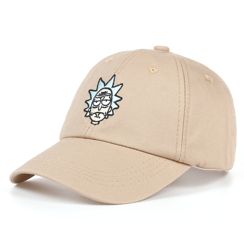 100% Cotton Rick and Morty New Tan Dad Hat Classic Rick   Baseball     Cap   American Anime Cotton Embroidery Snapback Anime lovers   Cap
