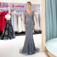 iLoveWedding 2018 Grey Luxury Sequins Beaded Long Sleeves Custom made Mermaid V Neck Sheath Long Evening Gowns