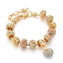 Gold Color Crystal Heart Charm Personalized Bracelets & Bangles For Women Trendy Jewelry Handmade DIY Bracelet Sbr160056