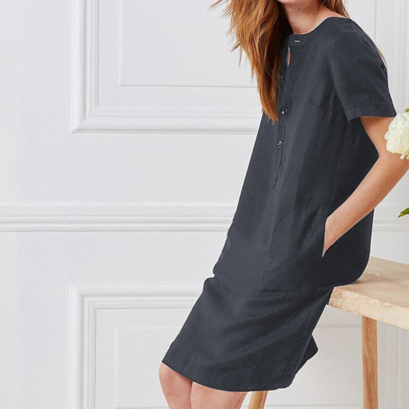 Summer Linen Dress 19 Celmia Women Tunic Top Short Sleeve Shirt Button Female Vintage Casual Sundress Sarafans Vestidos S-5XL 7