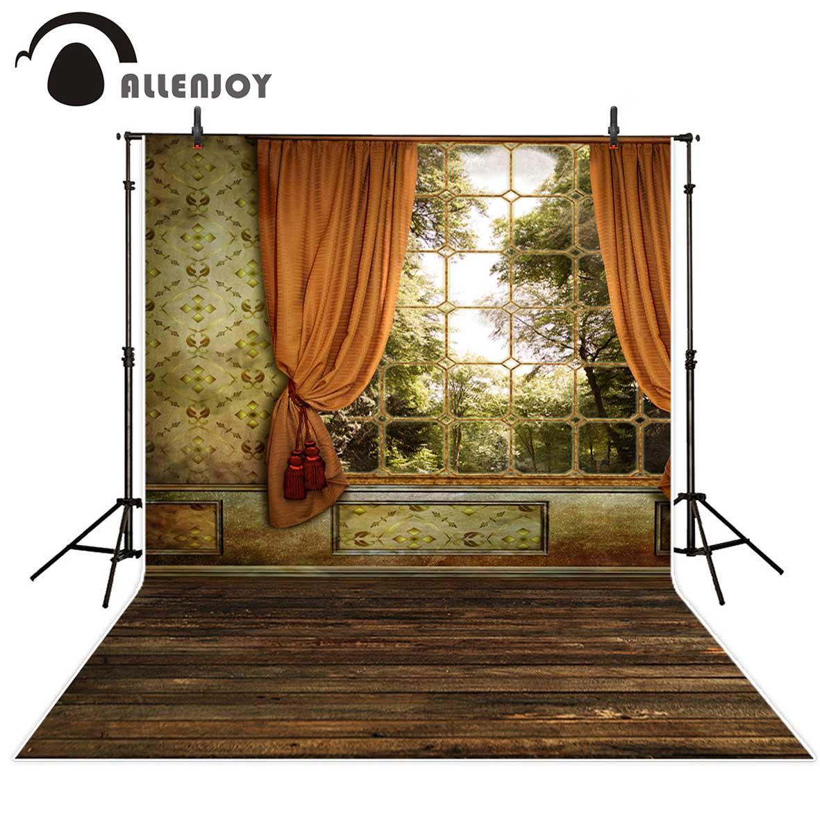 Allenjoy photography backdrops beautiful window Curtain Palace Wooden floor vinyl photography backdrops studio background vinyl
