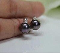 925 argento reale naturale grande orecchini di perle d'acqua dolce Naturale nero, semplice e nobile classico del tutto-fiammifero una bella piccola perla