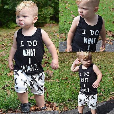 Lovely Toddler Baby Boys Clothes Cotton Tops Vest+Short pants 2pcs Outfits Set