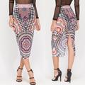 Sexy Women's High-end Boutique Gauze Skirts 2016 New Fashion Printed High-waist Sexy Back Split Slim Pencil Skirt Summer Skirts