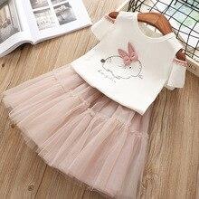 Girls Clothes Kids Toddler Girl Dresses For Children Rabbit Short Sleeved T-shirt + dress 2 piece set