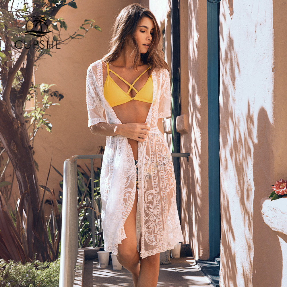 CUPSHE White Waves Embroidery Cover Up 2020 Women Sexy Half Sleeve Long Dress Beach Bathing Suits